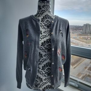 Sweaters - Embroidery Ballet Shoes Pearl Sequin Gray Cardigan